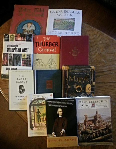 My treasure trove! Eleven books discovered at the Book Sale.